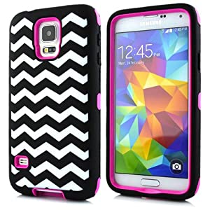 Sean® Chevron Waves Pattern Hybrid Protective Case with Combo Defender Shockproof Function for Samsung Galaxy S5 I9600 (Rose)