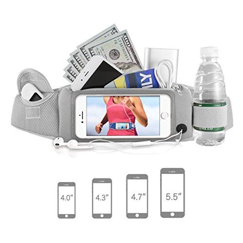 Running Waist Pack, Waterproof Running Belt for 5.5 Inch Screen Cellphone, Smartphones, iPhone 7 Plus,Samsung,Huawei P9, Headphones Opening Flexible Buckle Screen