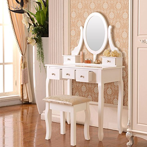 White Vanity Makeup Dressing Table Set W Stool 5 Drawer