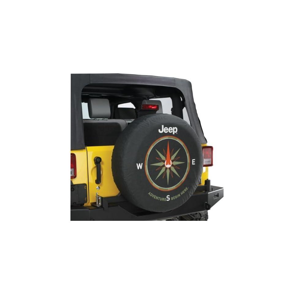 "Jeep Wrangler /""ADVENTURES BEGIN HERE/"" Spare Tire Cover 32-33 Inch Mopar OEM"