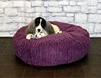 "Zippy Round Bean Bag Pet Dog Bed - 30"" diameter - Purple Jumbo Cord Fabric - Beanbags from Zippy"