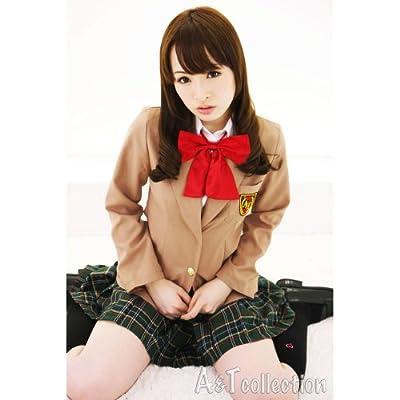 【A&TCollection】AKIBAクリスト女学院/シャツ一体型ブレザー★茶×緑チェック
