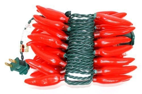 Sival - 35 Light 13.5' Green Wire Red Chili Pepper String (Chili Pepper Strings compare prices)