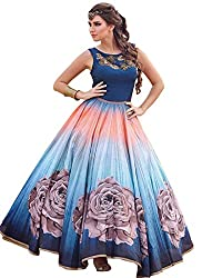 New Blue & Sky Shaded Banglori Silk With Satin Designer Gown by kreta fab tex