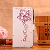 Locaa(TM) HTC M7 New HTC One M7 (2013) 3D Bling Case Deluxe Luxury Crystal Pearl Diamond Rhinestone eye-catching Beautiful Leather Retro Support bumper Cover Card Holder Wallet Cases - [General series] pink crystal flower