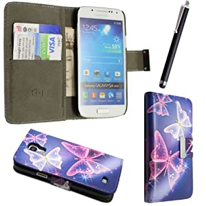 FOR SAMSUNG GALAXY S4 MINI I9190 NEW ARRIVAL PREMIUM QUALITY PU LEATHER MAGNETIC FLIP CASE COVER POUCH + SCREEN PROTECTOR +STYLUS (Ultra Butterfly Blue Book Flip)