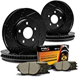 Max KT064983 [ELITE SERIES] Front + Rear Performance Slotted & Cross Drilled Rotors and Ceramic Pads Combo Brake Kit