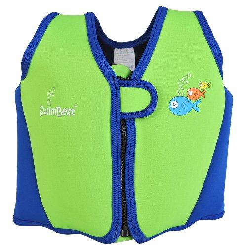 Swimbest Swim - Giubbotto salvagente per bambini dai 3 ai 6 anni, vari colori, verde (Verde/blu marino), 4-6 anni circa