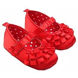 M2cbridge Baby Girl\'s Bow Dress Shoe Infant Toddler Pre-walker Crib Shoe (12-18 Months, Red silk)