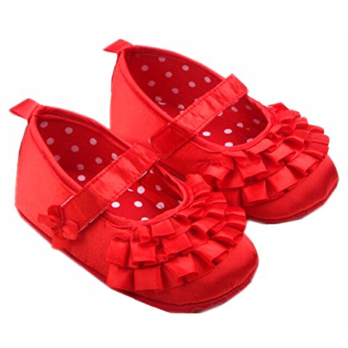 M2cbridge Baby Girl's Bow Dress Shoe Infant Toddler Pre-walker Crib Shoe (12-18 Months, Red silk)