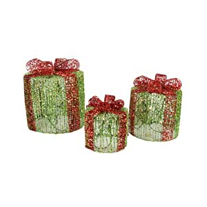 Set of 3 lighted green round glittered for Amazon christmas lawn decorations