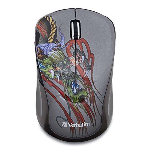 Verbatim Wireless Notebook Multi-Trac Blue Led Mouse, Tattoo Series , Dragon 98612