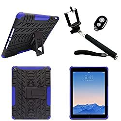 DMG Heavy Duty Mesh Protection Dual Layer Back Cover Case with Kickstand for Apple iPad Air 2 (Blue) + Handheld Selfie Monopod with Bluetooth Clicker