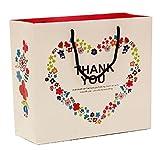 Thank you マークの 紙袋 プレゼント ギフトに 4枚セット 感謝の気持ち ホワイト (1. 大(30cm×27cm×12cm))