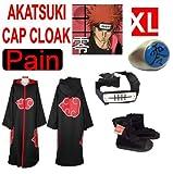 Naruto cosplay traje Set para Pain -Capa con capucha Akatsuki + anillo + Naruto venda + Naruto Akatsuki Zapatos,Tama�o XL:175-180 cm