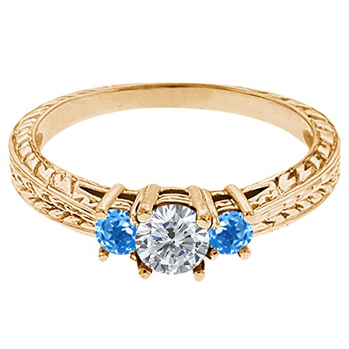 0.60 Ct Round G/H Diamond Swiss Blue Topaz 18K Yellow Gold 3-Stone Ring