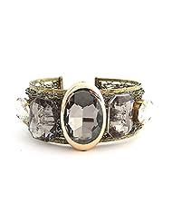 The Jewelbox Designer Free Size Cuff Brass Kada Bangle Bracelet Blue Stones