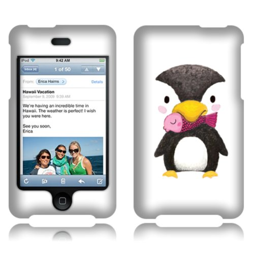 Fincibo (Tm) Apple Ipod Touch 2 (2Nd Generation) Protector Cover Case Snap On Hard Plastic Front And Back - Baby Penguin With Pink Fish