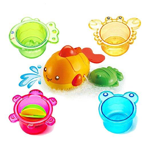 風呂 おもちゃ セット 水遊び バストイ 海の生き物 たためるカップ バストイ 動物型 カップ 4個いり 魚2個 知育玩具