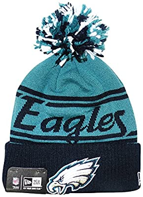 Philadelphia Eagles New Era Pom Fire Cuffed Pom Knit Beanie Hat / Cap