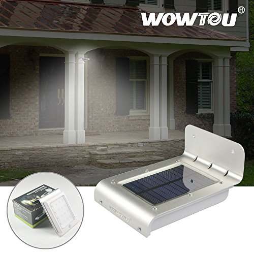 Wowtou(R) 3Rd Version Unique Winter Snow Protection 3 In 1 Integrated Sound Sensor Motion Sensor Ray Sensor 4 Bright Led Wireless Outdoor Solar Panel Powered Security Garage Corner Path Garden Porch Fence Gutter Wall Mount Led Motion Sensor Light Lamp