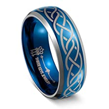 buy Three Keys Jewelry 8Mm Men Tungsten Carbide Ring Wedding Engagement Band Dome Beveled Edge Blue Plated Laser Rome Seamless Size 12.5