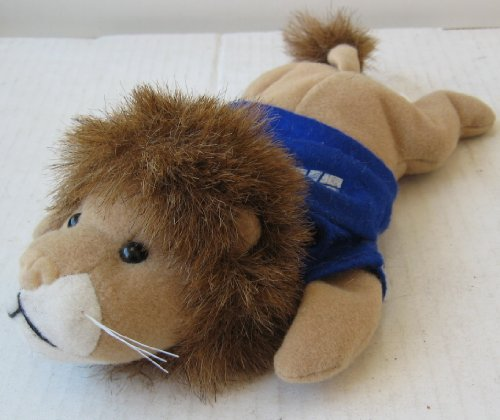 Lion with Syncsort Blue Shirt Stuffed Animal Plush Toy - Laying Down - 10 inches long