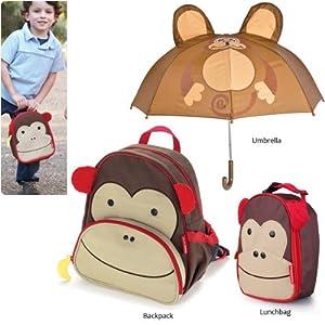 Monkey Umbrella with Monkey Kids Animal Insulated Lunch Bag + Cartoon School Backpack Gift Set by Genesis