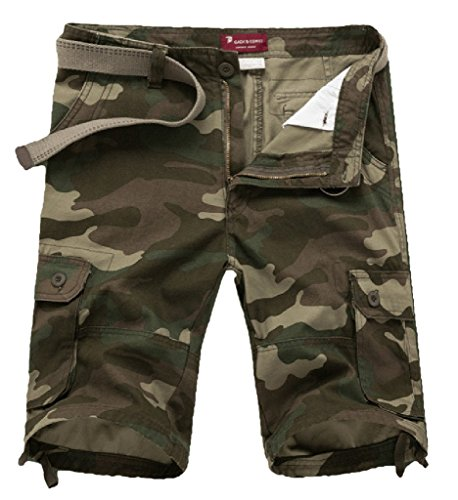 CATERTO New Cargo Shorts Casual Pants(Green Camo,30) Green Camouflage Shorts