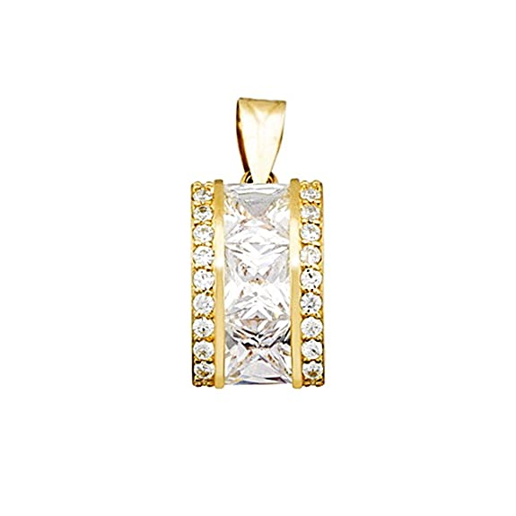 18k gold pendant zircons carré 6mm. [AA4753]