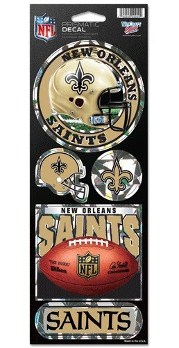 New Orleans Saints 5 Pack of Stickers - Holographic Cracked Ice Design