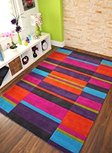 Kingston Multi Colour Pink Orange Green Purple Blue Contemporary Handmade Wool Rugs   3 Sizes Available       reviews and more information