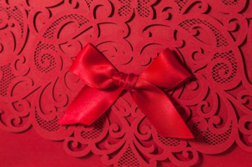 Wishmade 100x Elegant Red Laser Cut Wedding Invitation Cards Kits with Lace Bow Paper Cardstock for Bridal Shower Engagement Birthday Baby Shower Quinceanera(set of 100pcs) 3