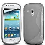 Fone-Case Samsung I8190 Galaxy S III mini Protective Hydro S Line Wave Gel Silicone Skin Case Cover With LCD Screen Protector Guard (Clear)