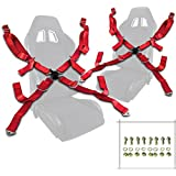 """Pair of Red Seat Belt Harnesses, 2"""" Inches Wide, 4 Point Camlock Cam Lock"""