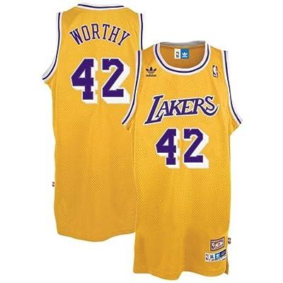 NBA adidas Los Angeles Lakers #42 James Worthy Gold Hardwood Classics Swingman Throwback Basketball Jersey (Medium)