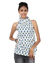 Rajrang Womens Cotton Tunic -Blue, White -Small
