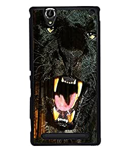 PRINTVISA Black Panther Premium Metallic Insert Back Case Cover for Sony Xperia T2 Ultra - D6017