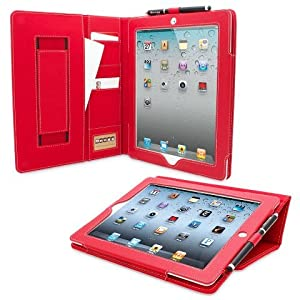 Snugg® iPad 2 Case - Executive Smart Cover With Card Slots & Lifetime Guarantee (Red Leather) for Apple iPad 2