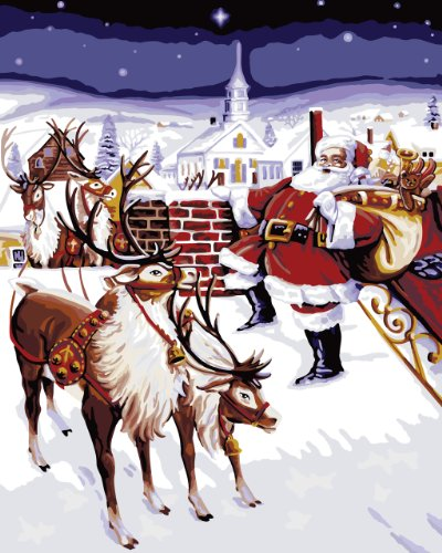 Christmas paint number kits beautiful paint by number kits for Pre printed canvas to paint for adults