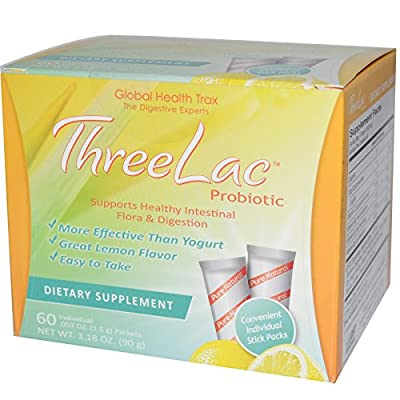 Global Health Trax, ThreeLac Probiotic, Lemon Flavor, 60 Packets, .053 oz (1.5 g) Each
