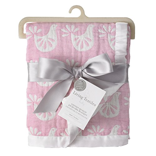 Living Textiles Muslin Jacquard Blanket, Pink Bird