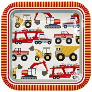 Best Buy! Meri Meri Big Rig 9-Inch Large Square Plates, 12-Pack