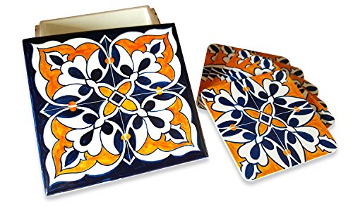 Fuchsia Living Handmade Hand-painted Coaster, Blue & Orange Tile Pattern, Set Includes 6 Coasters & 1 Wooden Box