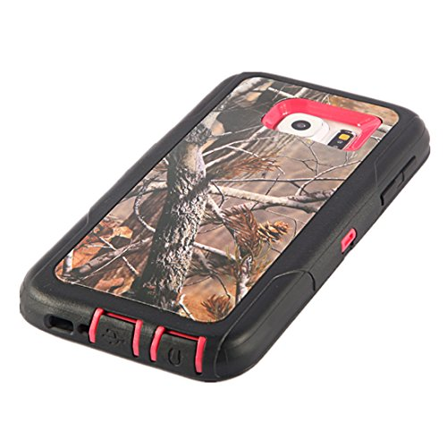 iCustomized TM Pink and Black Rugged Heavy Duty Hard Dual Layer Weather and Water Resistant Case with Camouflage Woods Design for the Samsung Galaxy S6 ATT - Verizon - T-Mobile - Sprint - Screen Cleaning Cloth