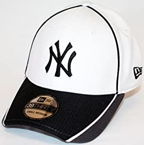 New York Yankees New Era MLB 39THIRTY Pipe Slide Fitted Hat - White Gray by New Era