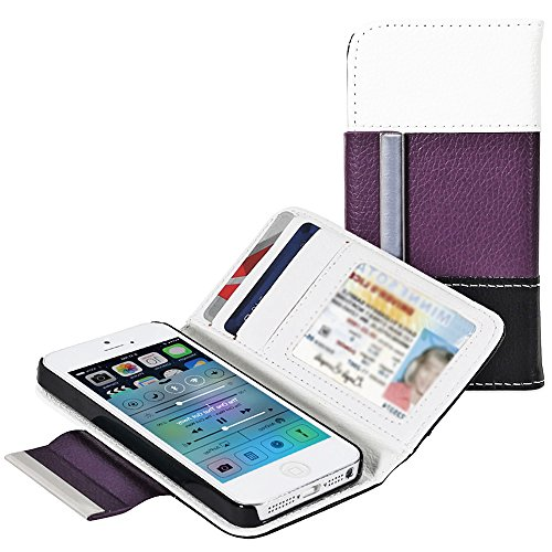Mylife Lilac Purple , Black And White - Modern Design - Textured Koskin Faux Leather (Card And Id Holder + Magnetic Detachable Closing) Slim Wallet For Iphone 5/5S (5G) 5Th Generation Smartphone By Apple (External Rugged Synthetic Leather With Magnetic Cl