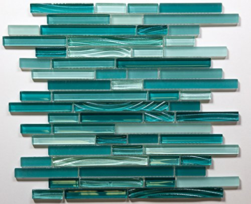 Aqua Horizontal Mosaic Glass Tile / 11 sq ft