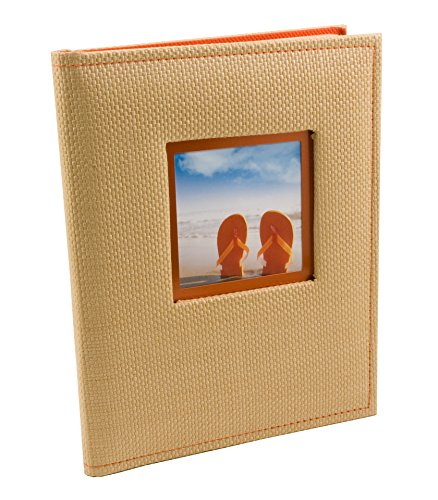 BorderTrends Beach 80-Pocket Rattan Cover Photo Album, Orange - 1