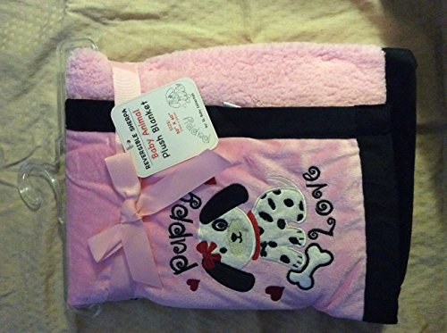 "Reversible Sherpa Baby Animal Plush Baby Blanket ""Dalmatian Pink/black"" 30x40"
